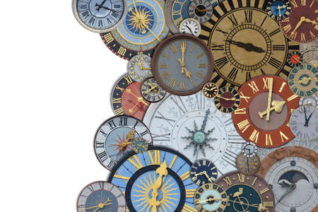 border out of a collection of multicolored ancient church tower clocks in different sizes and forms with roman numbers isolated with blank white copy space to the left