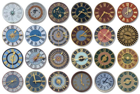 Collection of multicolored ancient church tower clocks in different sizes and forms with roman numbers in regular rows on white background