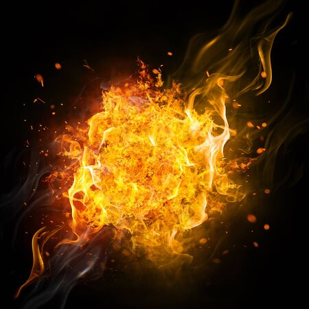 Illustration, Fire effect isolation on the black background