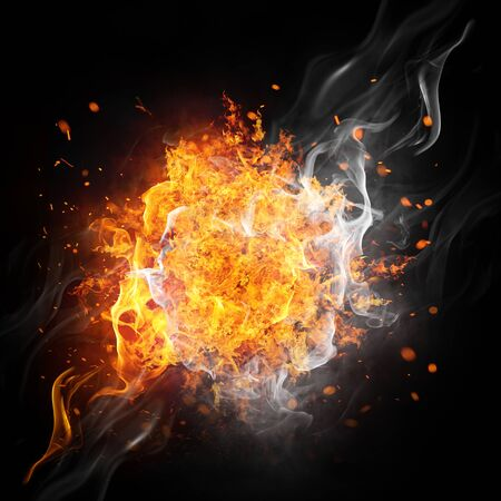 Illustration, isolation effet feu sur fond noir Banque d'images