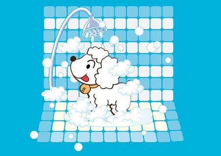 bubble bath: A dog in a tub taking a bubble bath.