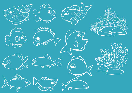 inhabitants: fishes illustration Illustration