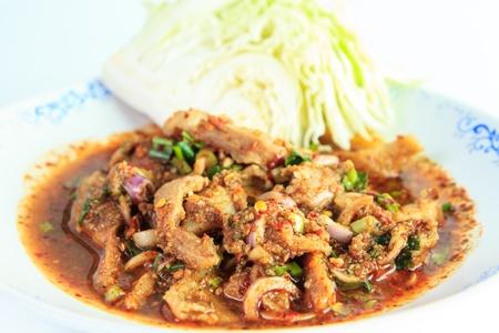 namtok: Spicy Thai pork Salad or Nam-Tok