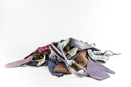 Stack of neckties Isolate on white background Stock Photo