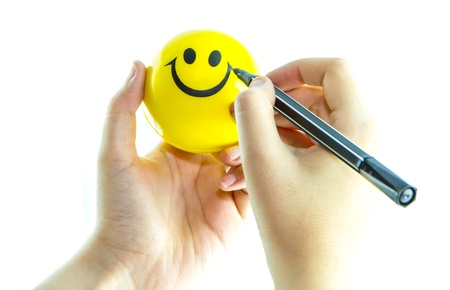 shaken: write on smile ball,Fun concept Stock Photo