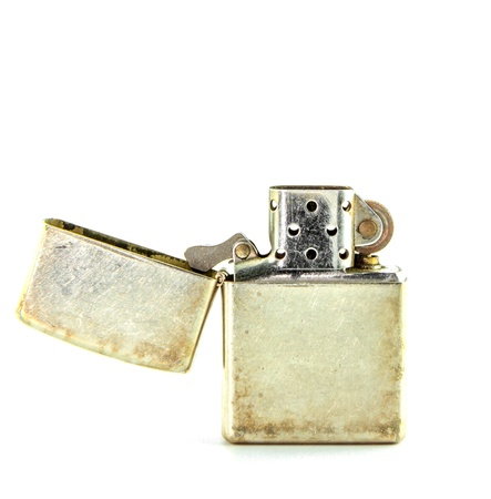 Vintage silver gasoline lighter isolated on white background Stock Photo - 19914120