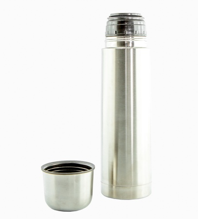 Metal Thermo flask isolate on white background photo