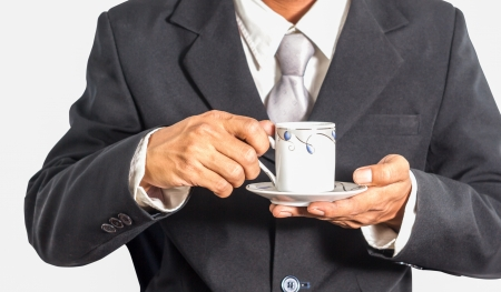 business man with coffee cup photo
