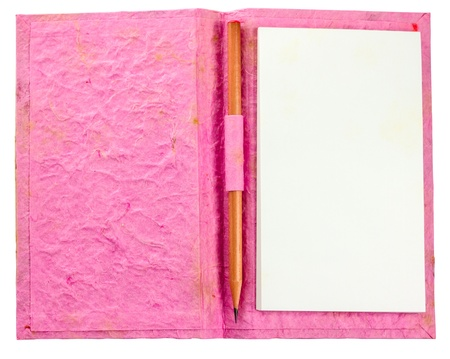double page spread: grunge pink notebook with pencil isolate