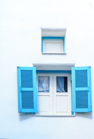 Retro lovely blue window photo