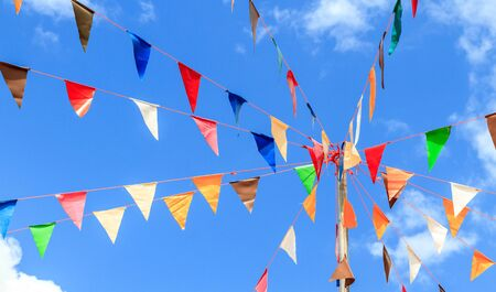 nice colorful pennants with blue sky photo