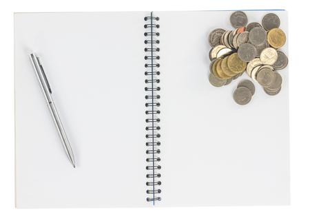 m�nzenwerfen: Spiral-Notebook mit Stift M�nzen