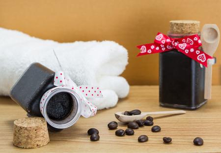 Homemade skin coffee scrub for spa  photo