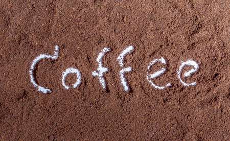 coffee ground with coffee text