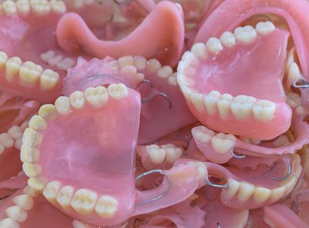 Old dentures background Zdjęcie Seryjne