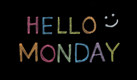 Hello Monday written on blackboard