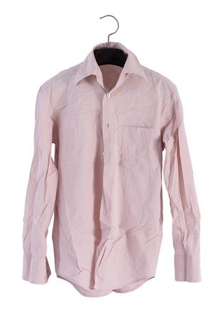 creased: creased men shirt isolate on white background