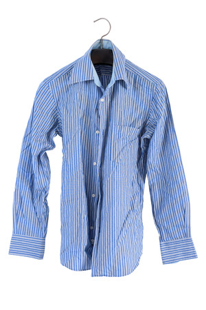 dry cleaned: wrinkle striped shirt isolated on white Stock Photo