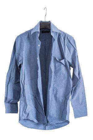 creased: creased blue shirt