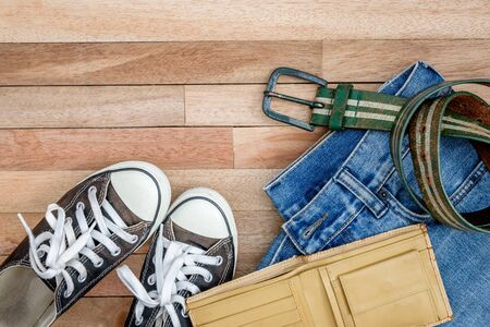 Vintage accessories on a wooden ,Shoes,belt and wallet Stock Photo