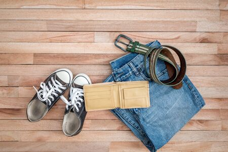 wooden shoes: Vintage accessories on a wooden ,Shoes,belt and wallet