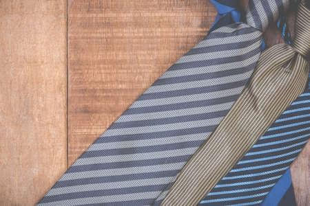 necktie: Necktie on grunge wood background