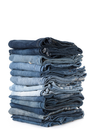 bluejeans: stack of jeans on white background