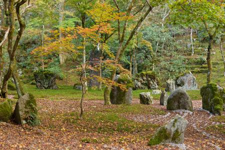 komyozenji temple rear rock garden in autumn season