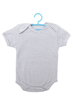 jumpsuite: Striped baby clothes bodysuit with hanger isolated on white background