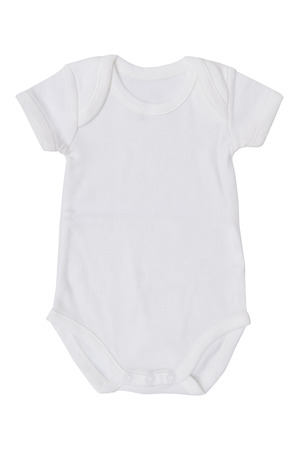 white baby jumpsuit isolate on white background Stock Photo