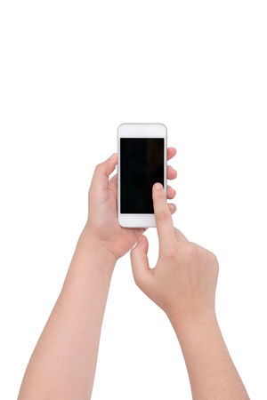 female hand holding a phone isolate on white background