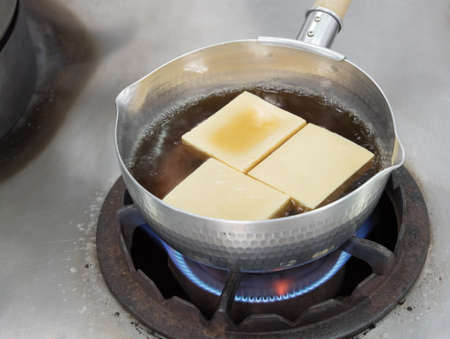 Boil Tofu with soup for cooking