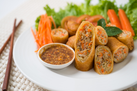 Spring Rolls with Pork Dish white  photo