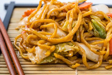 Yakisoba Japanese food on a white background. photo