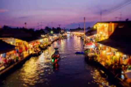 Nightlife Floating market Amphawa evening at Samut Songkhram photo