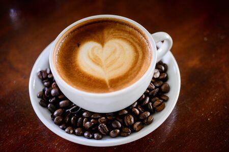 Mocha coffee with hot milk photo