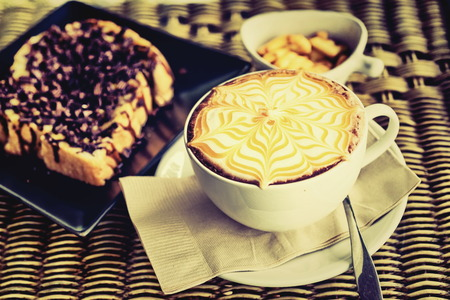Coffee Mocha hot with delicious assorted accessories. photo