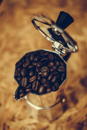 Equipment used in the coffee and coffee beans. photo