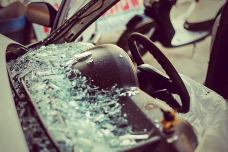 It is clear glass repair or auto accident on the road. photo