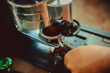 baristas: coffee machine in coffee shop