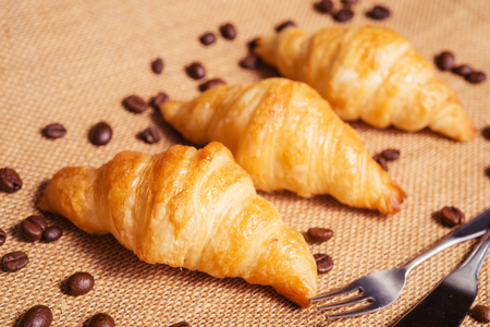 regularly: French croissant crescent moon eat it regularly for breakfast.
