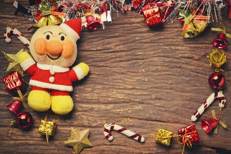 xmas background: Christmas xmas vintage decoration on the wooden background