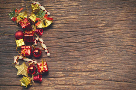 xmas background: Christmas xmas vintage decoration on the wooden background