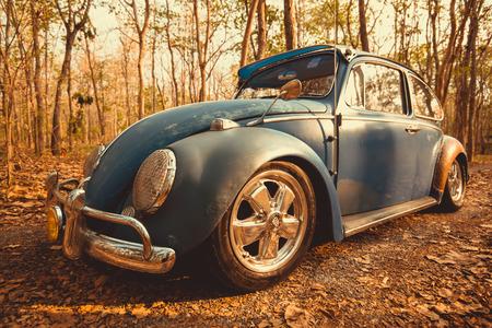 Nakhon Ratchasima, THAILAND - MAY 1 : Volkswagen retro vintage car blue color in Forest Leaves Brown. on MAY 1, 2016 in Nakhon Ratchasima Thailand. is Editorial
