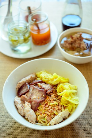 woo: noodles with boiled pork,spicy soup