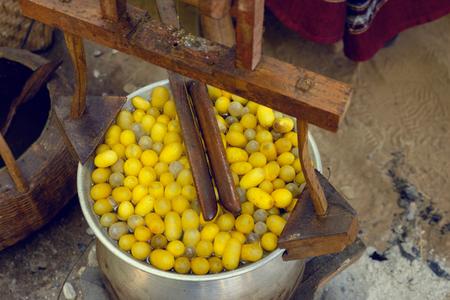 folkways: Boiled silkworm traditional folkways in Thailand. To yarn The silk industry