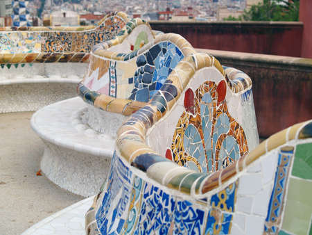 Detail from Parc Guell in Barcelona with a wave pattern  photo