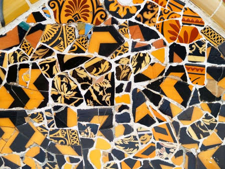 Mosaic Detail in park Guell in Barcelona, spain photo