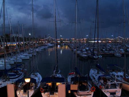 ramblas: The harbor of Barcelona, night view