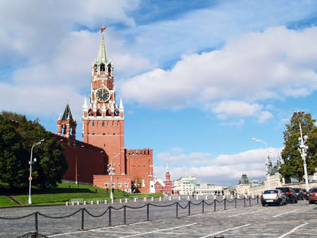 Spasskaya tower and red square in moscow, russia photo